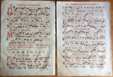 2 Antiphonary sheets, datable around the mid 18th century