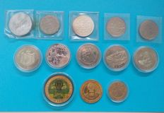 World - 13 ECU coins 1987-1994, including Silver
