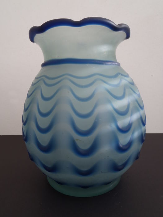 Large Blown Glass Vase With A Blue Laid On Relief Catawiki