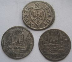 Germany, City of Nurnberg - Lot: 1  Kreuzer 1773 and 1796 and 4 Pfennig 1783 (3 coins)