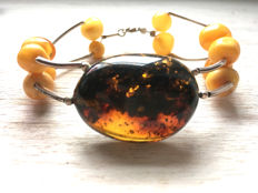 Vintage sterling silver bracelet with natural Baltic Amber, 17 gr.
