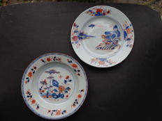 Two Imari plates, birds and houses - China - 18th century