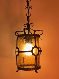 Antique Lantern/lamp - iron and amber-coloured crackle glass - France - ca. 1910