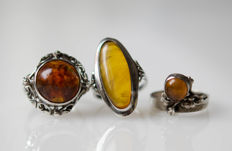 3 antique rings with amber and silver, maker's mark