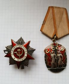 Order of the Badge of Honor + Order of the Patriotic War - made of silver