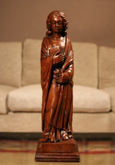 Beautiful oak sculpture of a young woman with book and palm branch - France - 2nd half of the19th century