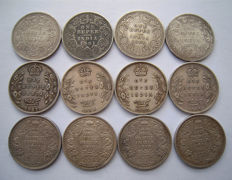 India, British - Rupee 1862/1919 Victoria, Edward VII and George V (12 different) - silver
