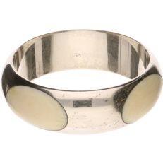 925/1000 Silver bracelet inlaid with bone - Inner size: 63.13 mm
