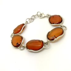 Old sterling silver bracelet with Baltic Amber (not pressed) , no reserve