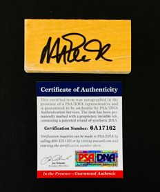 Magic Johnson #32 / LA Lakers - Authentic Signed  & Game Used Hardwood Floor NBA Stadium - with Certificate of Authenticity PSA/DNA