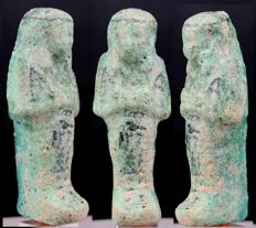 Egyptian faience Overseer Shabti with remains of the lettering.