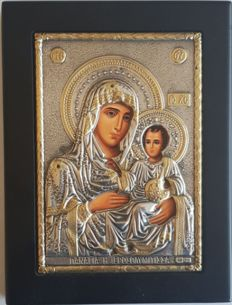 925 Siver Icon '' Our Lady Of Jarusalem '' , Greece, 20.th Century