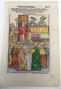 Master of Petrach [Hans Weiditz 1495-1537] - Illustrated post-incunabula leaf - Audience before the Pope - 1544