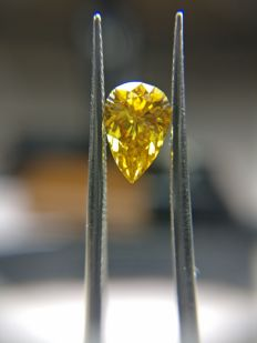 0.47 ct Pear cut diamond Fancy Deep Brownish Orangy Yellow Even SI2  -No Reserve