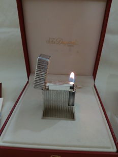 S.T. Dupont Paris silver plated lighter, includes case, box and papers - NEW