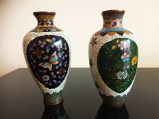 A matched pair or KYOTO cloisonne vases - partly silvered - Japan - late 19th century (Meiji period)