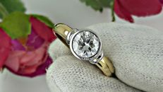 1.08 ct round diamond ring made of 18 kt yellow/white gold - size 7,5