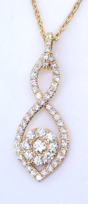 14 kt rose gold pendant with 56 diamonds, 0.50 ct in total - necklace length: 42 cm