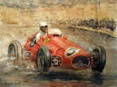 Ferrari 500 - Alberto Ascari - Red tea and watercolour - Unique, original work - Large size 65 x 50 cm