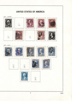 USA - 1873/74 - Selection of 'Official Stamps' on album sheets