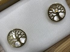 18 kt gold earrings, Tree of Life with mother of pearl