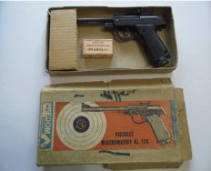 Polish Predom Lucznik air pistol, design from 1970s, 4.5 inch, steel with original packaging, ramrod and a buckshot