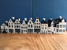9x KLM houses - Delft Blue (filled with Bols jenever)