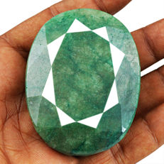 Huge Green Emerald Oval - 57x42x20 mm - 444 cts