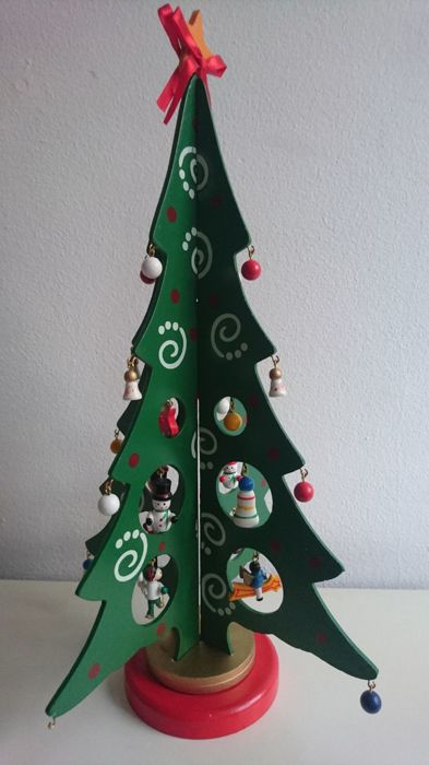 rare vintage wooden christmas tree with detailed charms mid century scandinavian christmas decoration