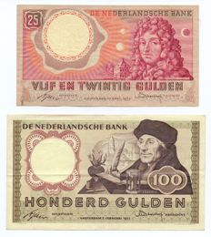 Netherlands - 25 guilders 1955 Huygens and 100 guilders 1953 Erasmus