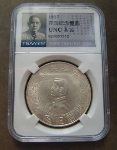 China, Republic - Dollar (Yuan) 1927 'Sun Yat Sen' in Tsaa Slab - silver