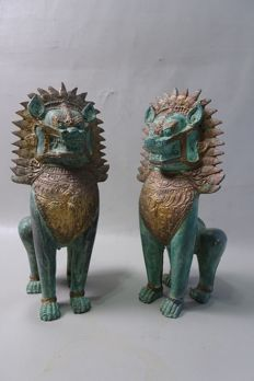 2 bronze temple lions - Thailand - late 20th century (26 cm)