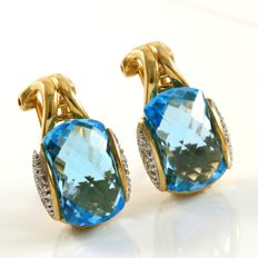 14kt Yellow Gold Earrings Set with 19.5 ct Blue Topaz and 0.14 ct Diamonds