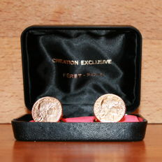 Pair of cufflinks, 10 francs, gold, 21.6 kt