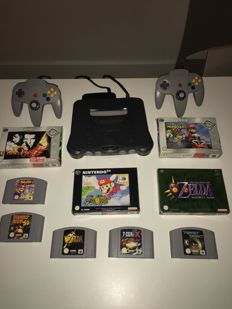 Nintendo 64 console + 9 games. like Mario Smash and Mario Kart