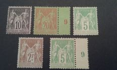 France 1877/1900 - Sage type - Yvert no. 89, 96, 102, 105 and 106