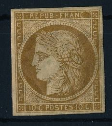 France 1849 - 10 cent Ceres yellowish brown - Michel 1a
