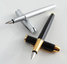 Parker: 2 x luxury Sonnet fountain pen: gloss black and soft-silver with gold plated and chrome accents, with Parker gift box (P104 (1))