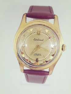 cardinal 17 rubis incabloc gold rolled wristwatch