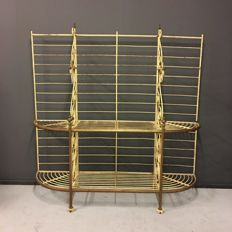 French Antique Bakers rack with metal and brass 1920s