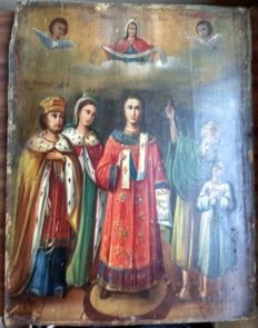 Russian icon (late 19th) - The Protection of Our Most Holy Lady (42 x 32,1 cm)