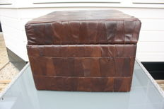 Manufacturer unknown - vintage brown leather ottoman