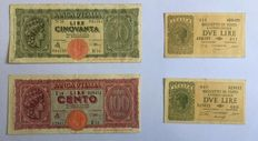 Italy - 45 banknotes Kingdom of Italy and Italian Republic