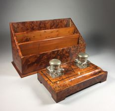 Two piece thuya wooden desk set with inlaid star of David - France - circa 1900