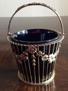 Silver gilded peppermint basket basket with blue insert - London - 1964