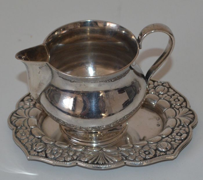 Silver creamer and dish, Denmark/Spain, 20th century