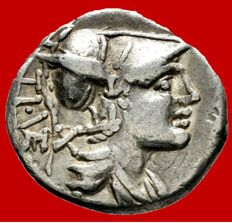 Roman Republic - Ti. Veturius, silver denarius (3,38 g. 19 mm.) - Minted in Rome , 137 B.C. Oath-taking scene.