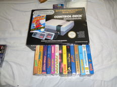 Nes boxed with 15 games Complete in Box. Game like : Kirbys Adventure +  Dr. Mario +  Super Mario Bros 2 + Zelda 2 and more