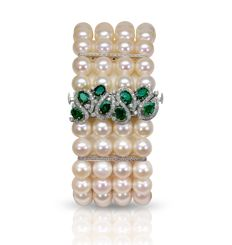 Akoya Four Row Pearl Bracelet Featuring a Magnificent 18K White Gold Clasp Set with 0.84Ct VS Diamonds and 2.95Ct Chrome Tourmaline