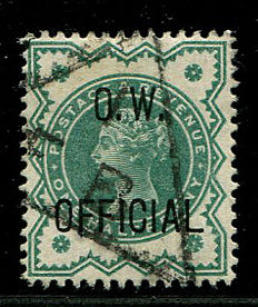 Great Britain 1896 - 02 - Queen Victoria, official stamp, halfpenny blue-green, OW official - Stanley Gibbons O32